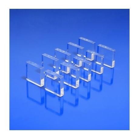 Socles plexiglas carré 20x20x5 Lot de 10 pièces