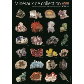 Poster mineraux de collection sur fond blanc