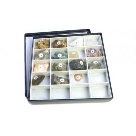 collection de minéraux de différentes densités.