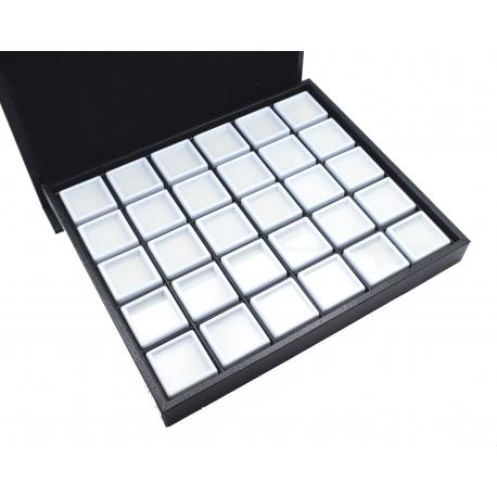 Coffret avec 20 boites dessus verre de 30x30x17mm