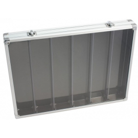 Vitrine de collection en aluminium 6 compartiments