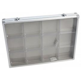 Vitrine de collection en aluminium 12 compartiments