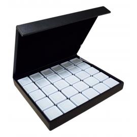 Coffret avec 30 boites dessus verre de 30x30x17mm