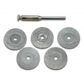 Jeu de 5 mini Disques diamantés 19mm de diamètre