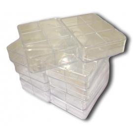 Boite transparente 6 cases 96x66x22 mm (lot de 10)
